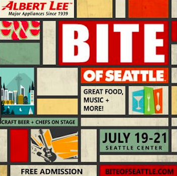 Bites of seattle poster july 19-21 with colorful designs squares