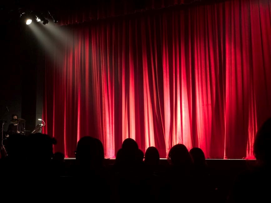 Stage with a red drape