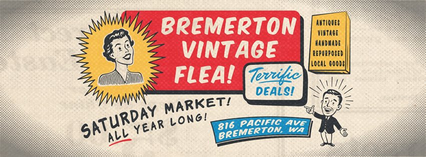An animated picture of a lady saying Bremerton flee market and a kid pointing at a sign that says deals