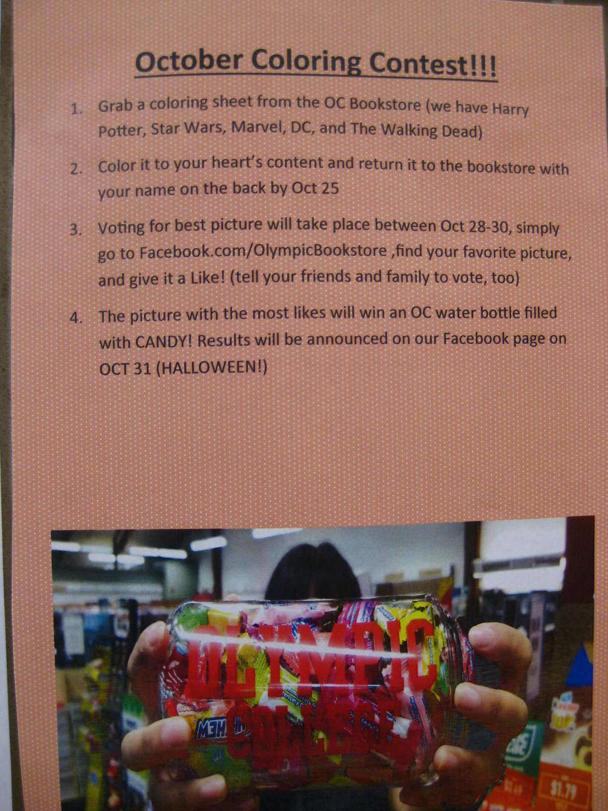 Halloween Coloring Contest flyer with a picture of bottled candy and informations about the contest