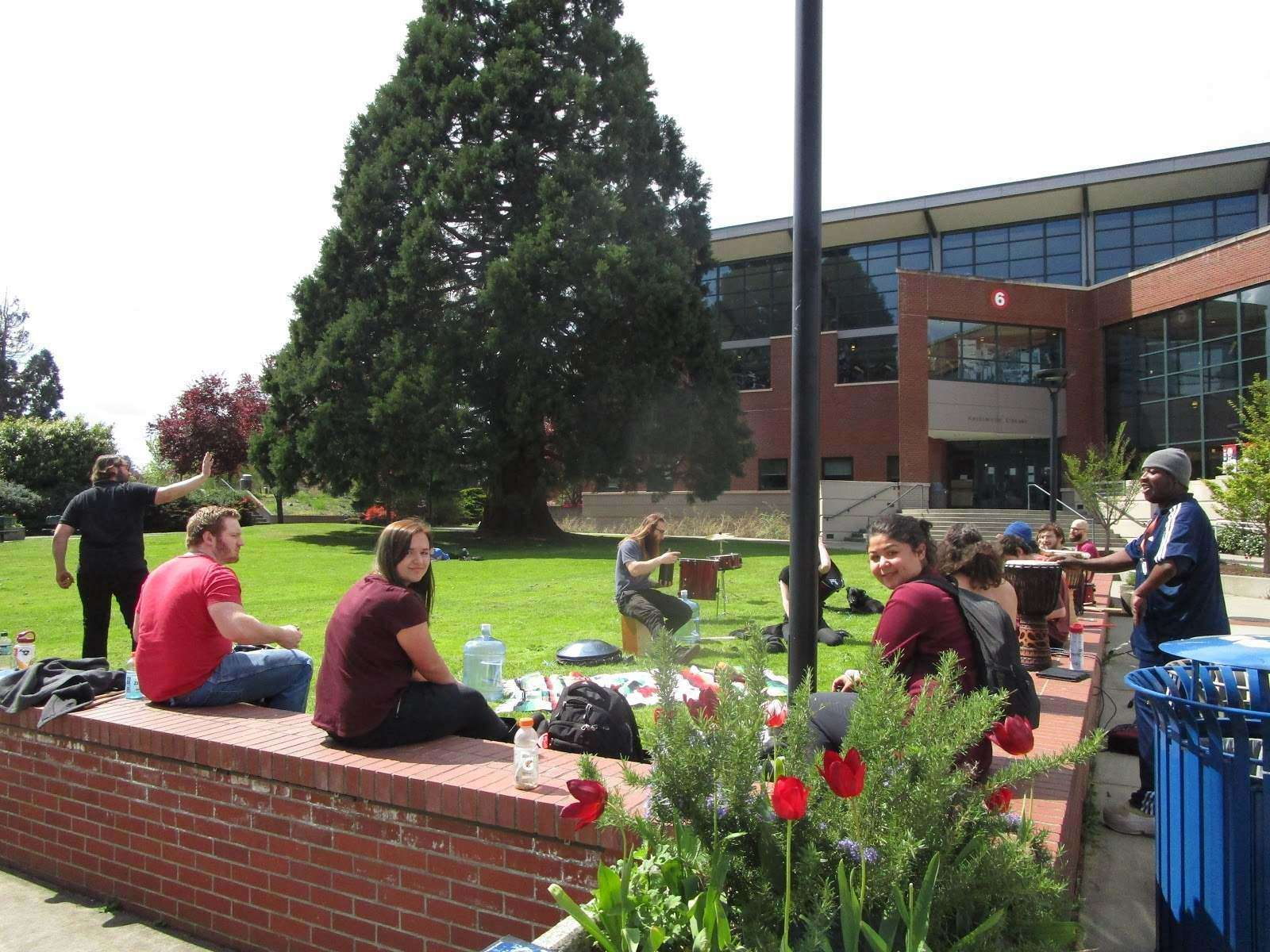 Students sit on the green in front of HL building playing drums - Music By Everyone - (Source: Caleb Lizon)