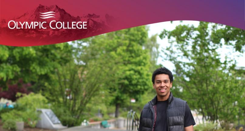 Male student walking on Olympic College Campus
