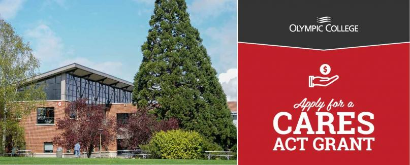Olympic College on black background. Apply for a Cares Act Grant on red background. Image of tree in front of the Haselwood Libr