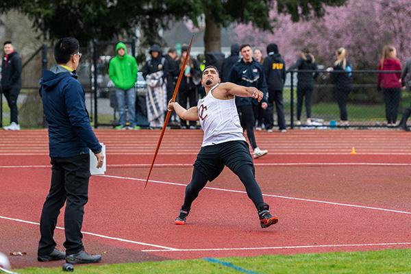 Olympic College Track & Field's Hesser Sotelo competes in javelin