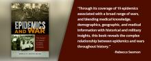 Epidemics and War by Rebecca Seaman book cover, with a quote from the book.